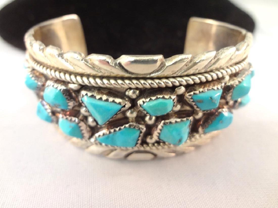 Wayne Cheama Zuni Sterling Turquoise Cuff Bracelet - 3