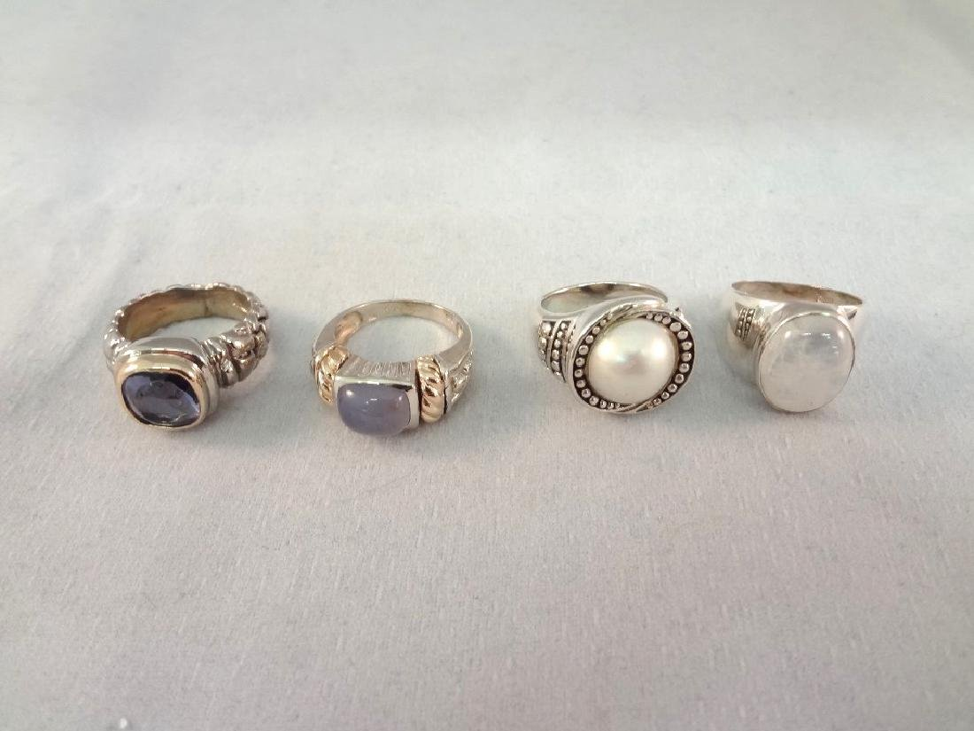 (4) Sterling Silver and 14K Gold Rings with Stones