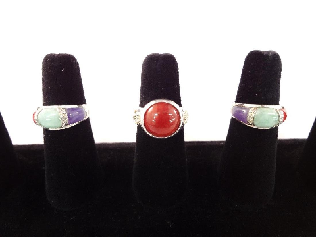 (3) Sterling Silver and Multi Color Jade Rings