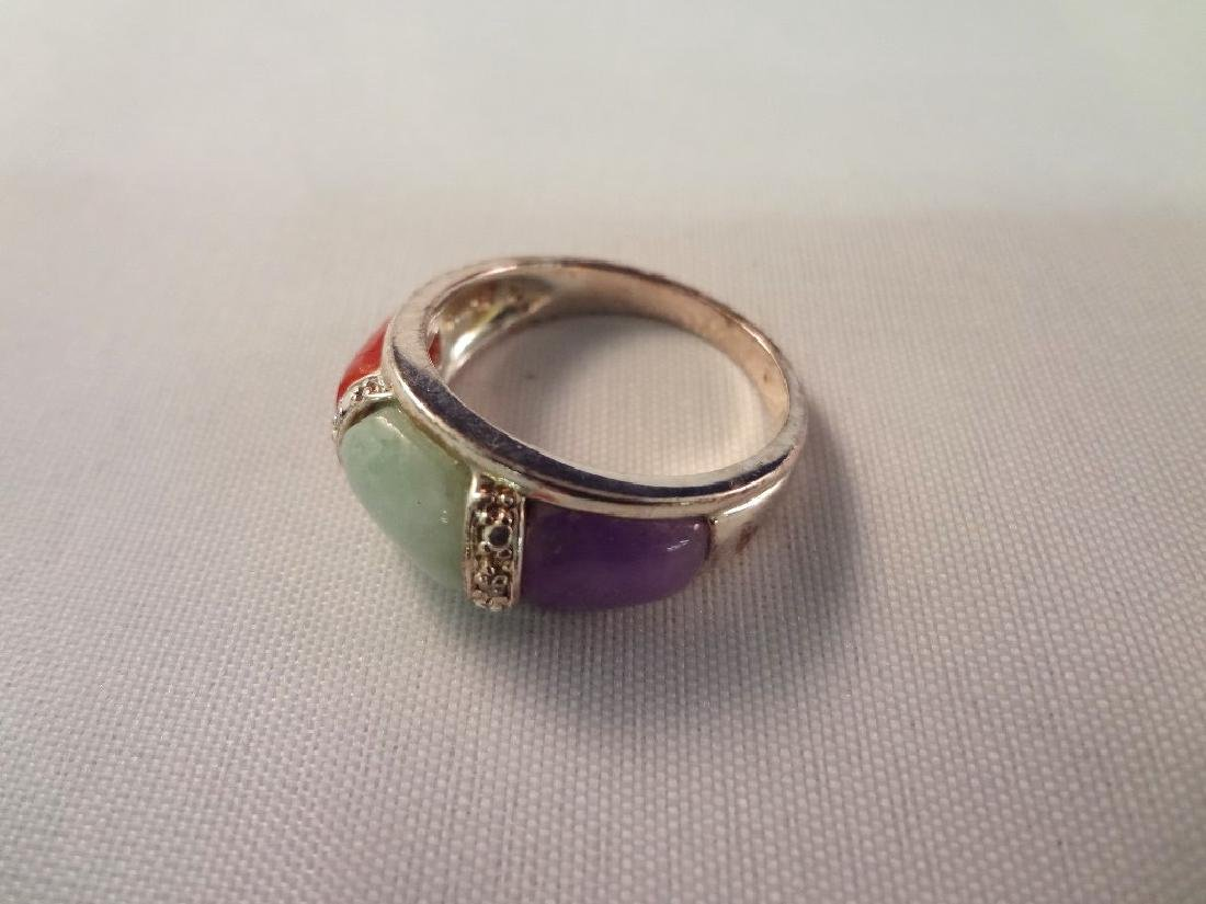 (3) Sterling Silver and Multi Color Jade Rings - 2
