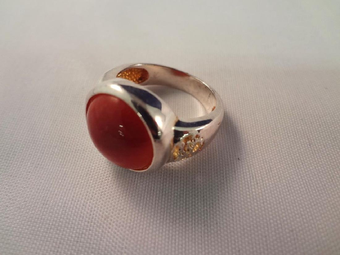 (3) Sterling Silver and Multi Color Jade Rings - 3