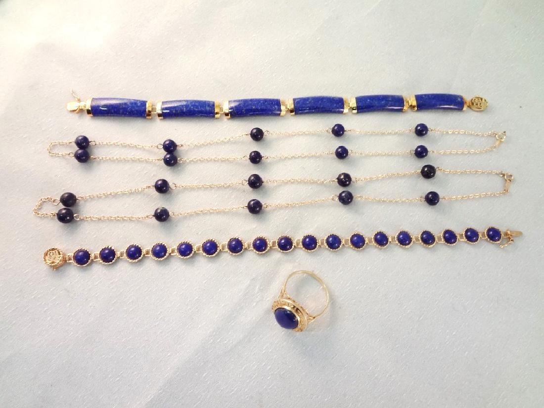 14K Gold and Lapis Lazuli Jewelry: (2) Bracelets, (2)