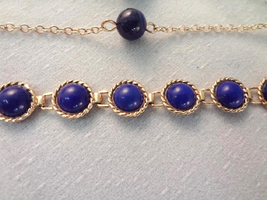 14K Gold and Lapis Lazuli Jewelry: (2) Bracelets, (2) - 4