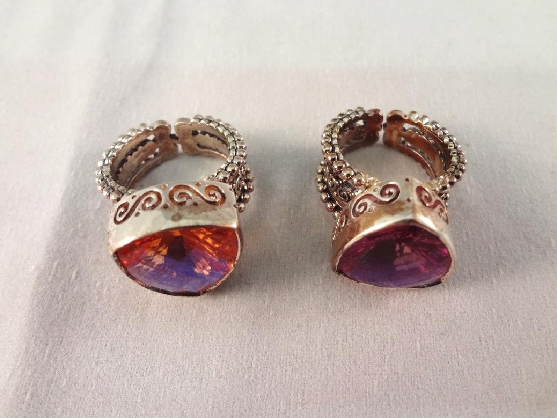 (4) Sajen Sterling Silver Chunky Cocktail Rings - 6