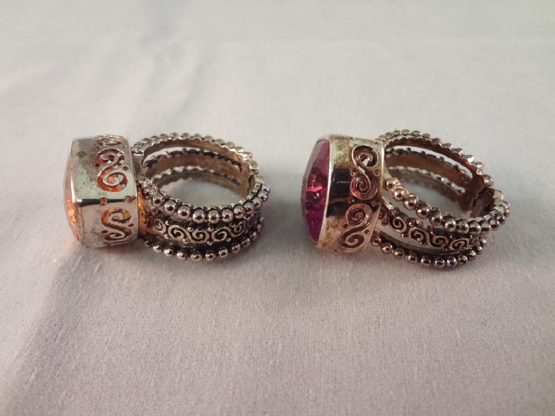 (4) Sajen Sterling Silver Chunky Cocktail Rings - 7