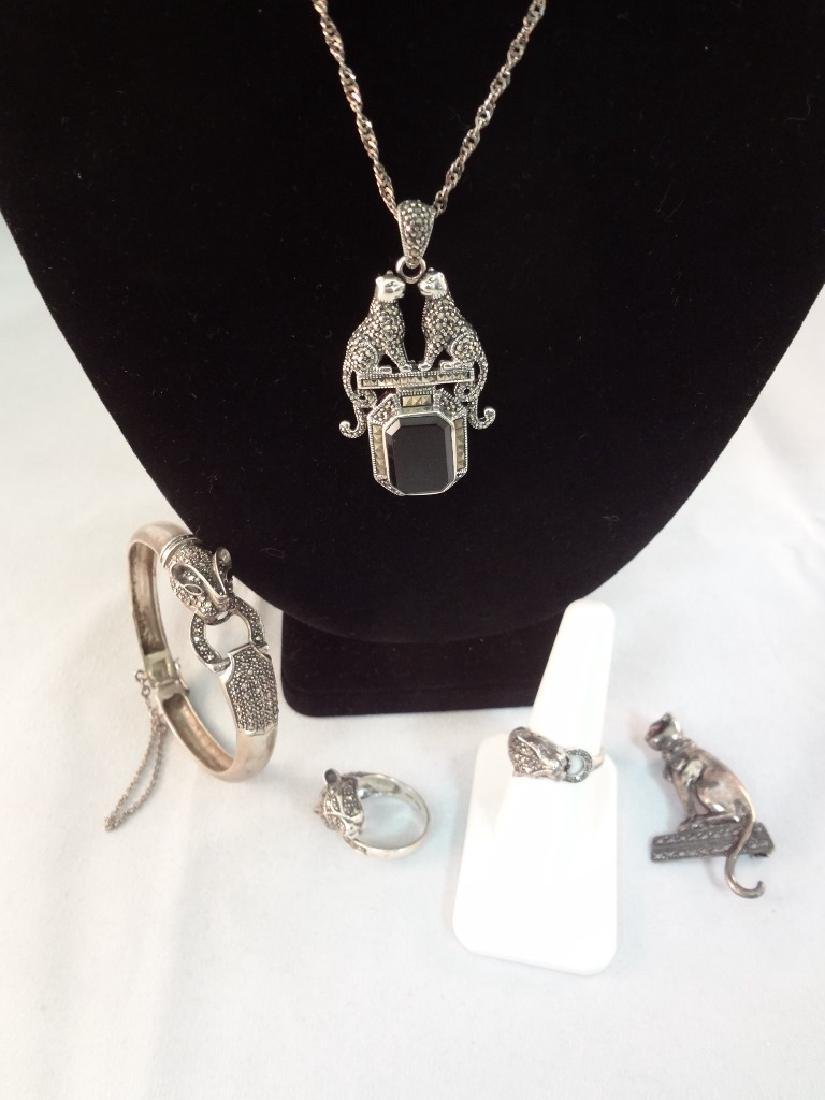Sterling Silver Art Deco Cat Theme Jewelry Suite:
