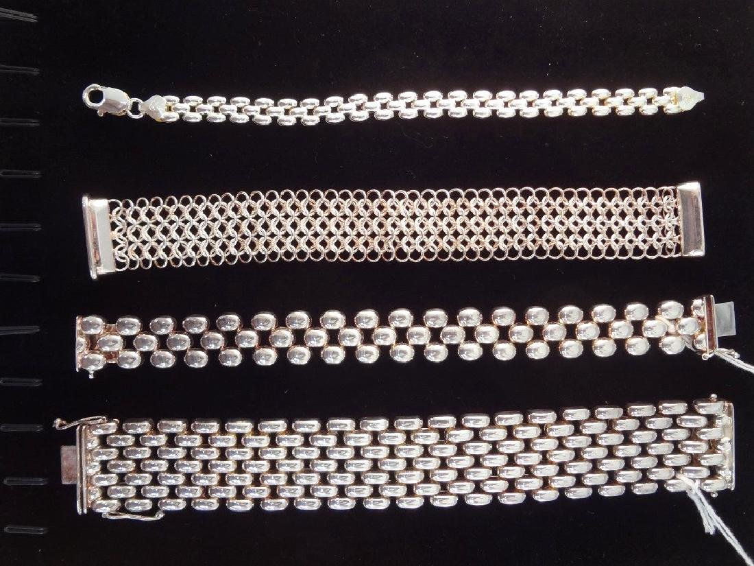 (4) Italian Sterling Silver Panther Style Bracelets TW