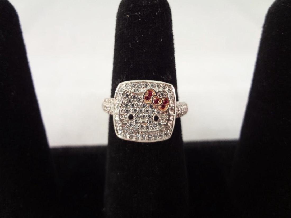 Sterling Silver Hello Kitty Pave Crystals Ring Size 9