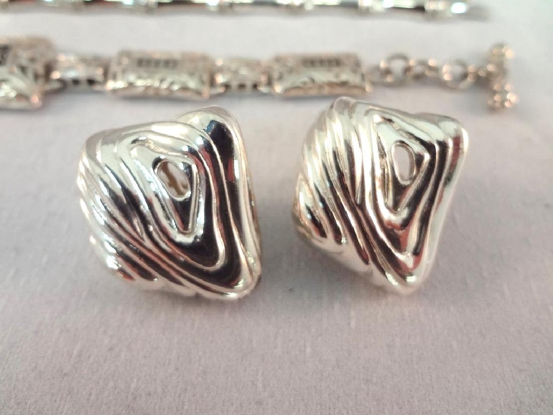 Sterling Silver (2) Bracelets, (2) Earring Pairs - 2