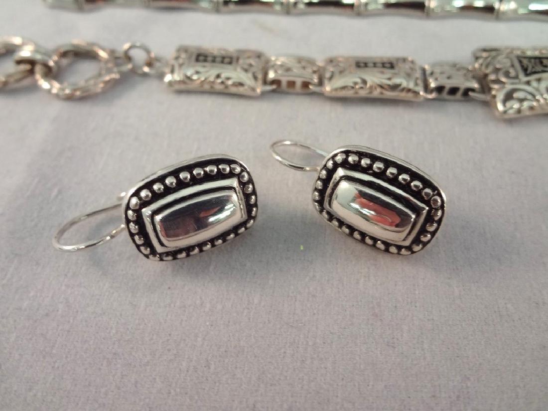 Sterling Silver (2) Bracelets, (2) Earring Pairs - 3