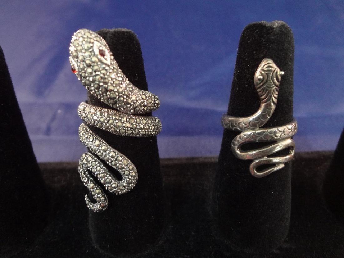(2) Sterling Silver Snake Rings