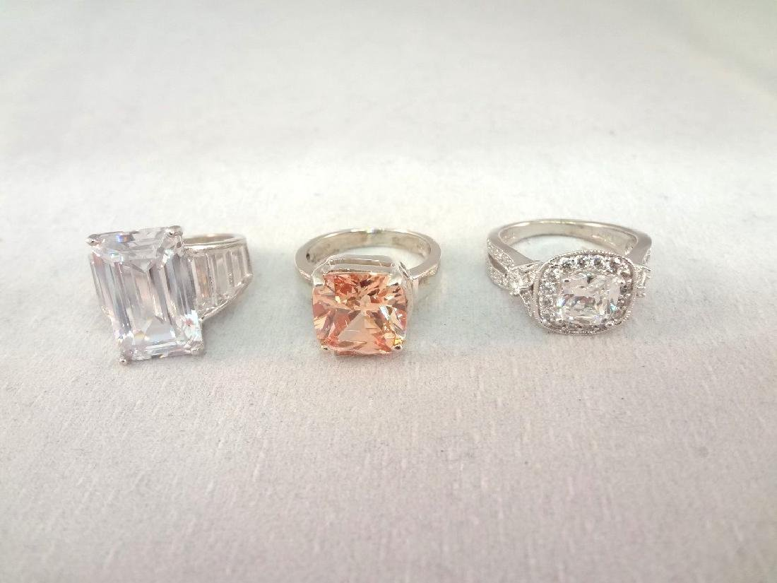 (3) Sterling Silver Rings All with Cubic Zirconias