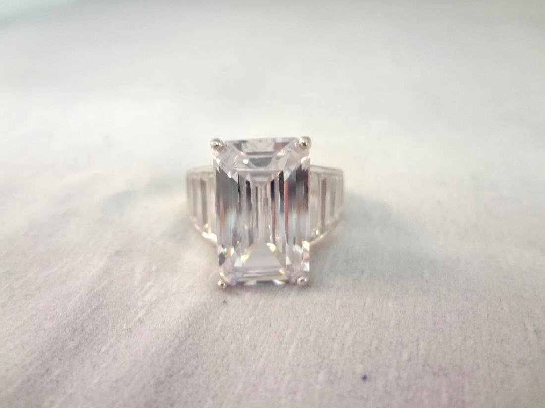 (3) Sterling Silver Rings All with Cubic Zirconias - 2