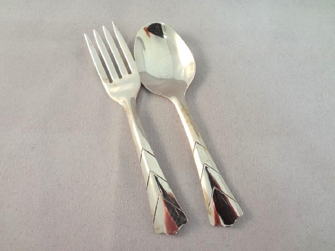 Web Sterling Silver Baby Fork and Spoon Set