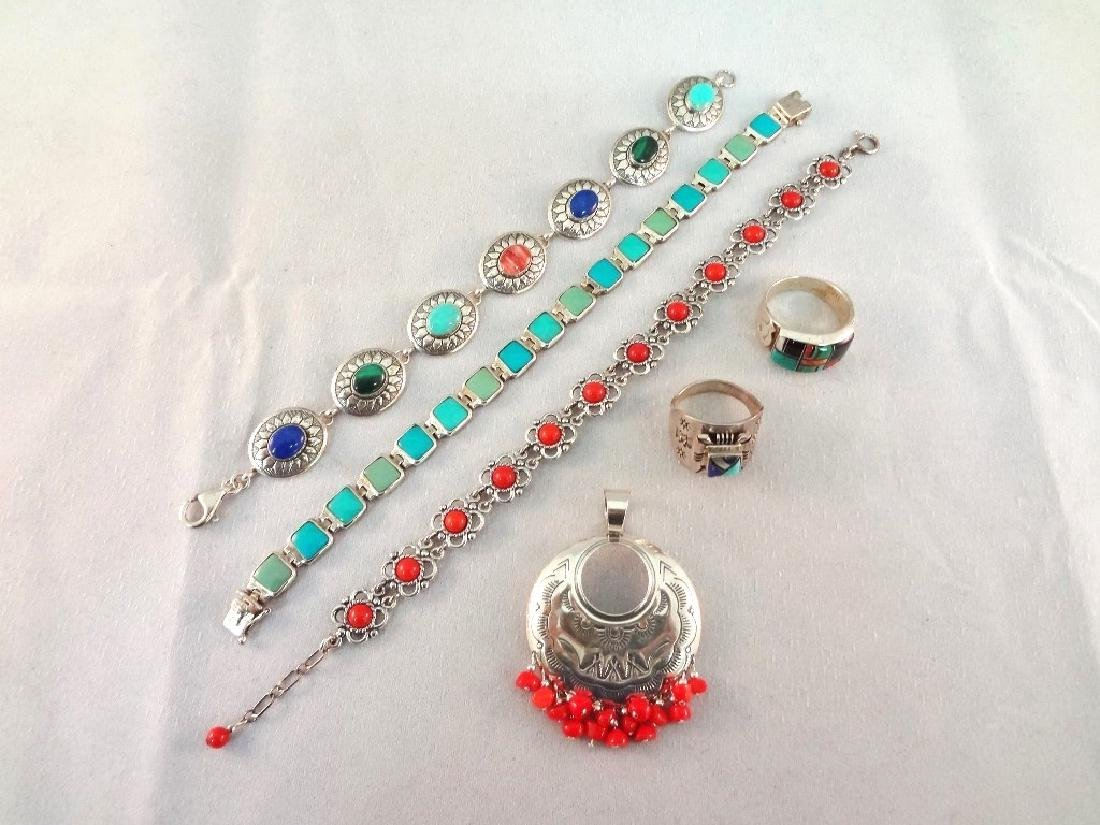 Sterling Silver Red Coral and Turquoise Jewelry Group: