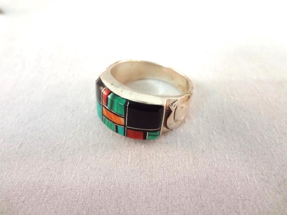 Sterling Silver Red Coral and Turquoise Jewelry Group: - 5