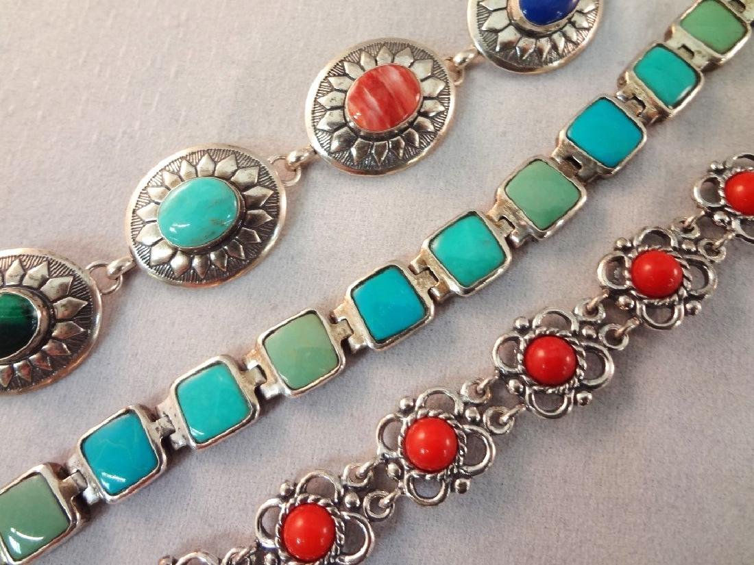 Sterling Silver Red Coral and Turquoise Jewelry Group: - 7