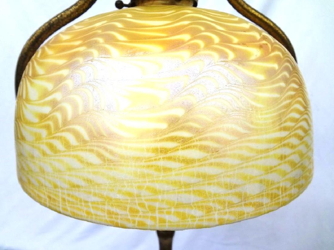 L.C. Tiffany Signed Floor Lamp with Damascene Gold - 12