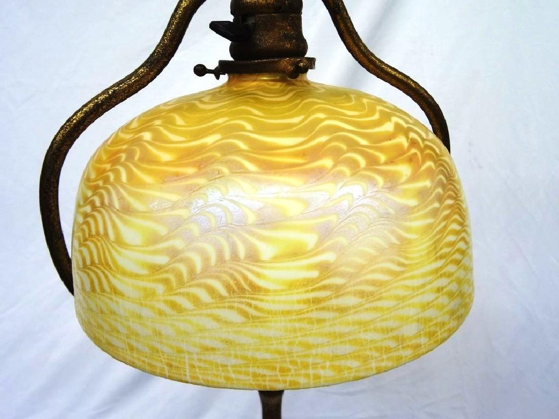 L.C. Tiffany Signed Floor Lamp with Damascene Gold - 2