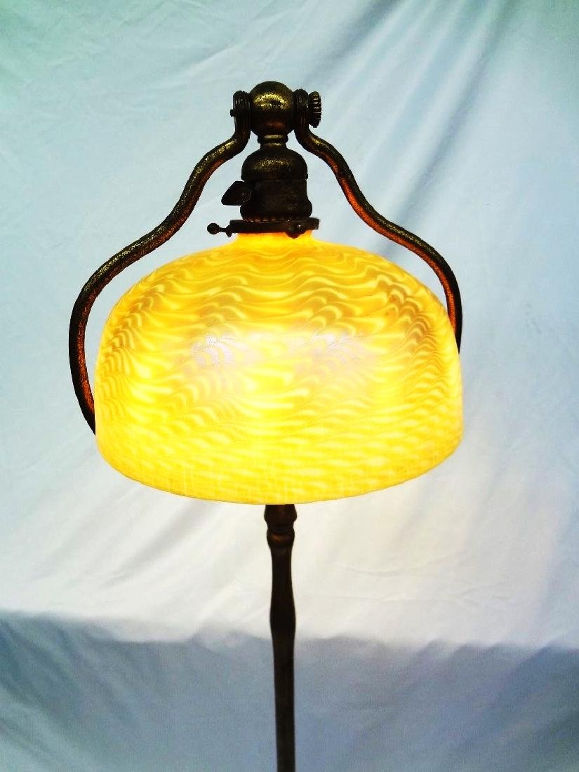 L.C. Tiffany Signed Floor Lamp with Damascene Gold - 4