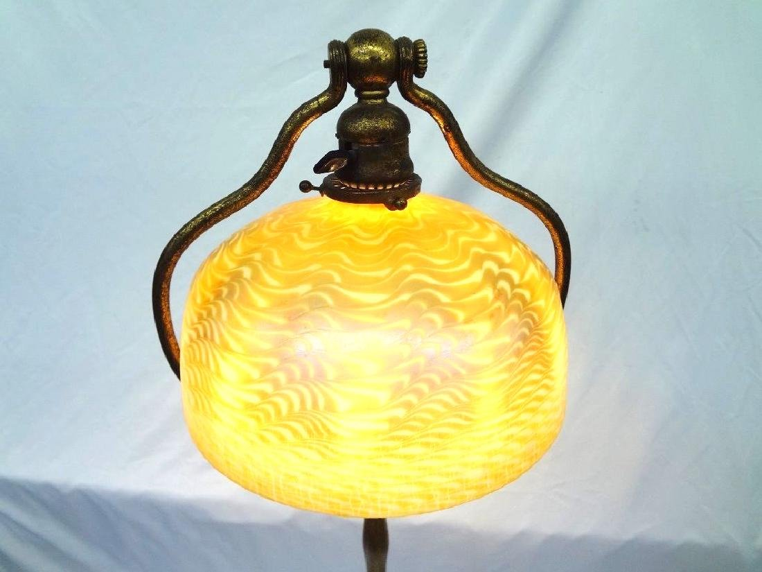 L.C. Tiffany Signed Floor Lamp with Damascene Gold - 5