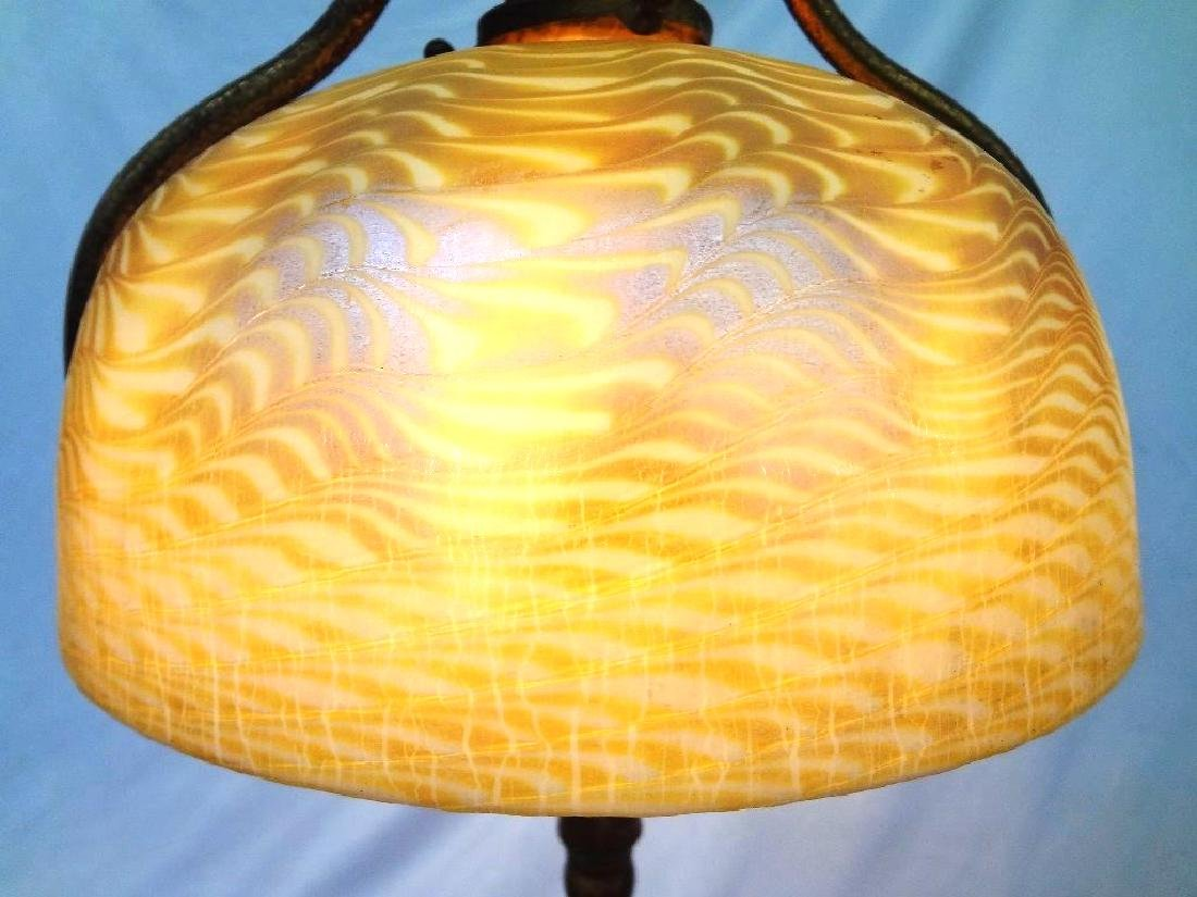L.C. Tiffany Signed Floor Lamp with Damascene Gold - 6