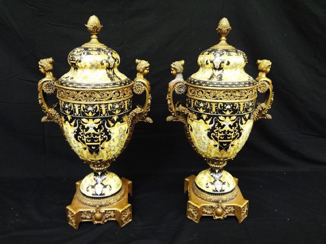 Pair Victorian Porcelain and Brass Lidded Vases Ormolu
