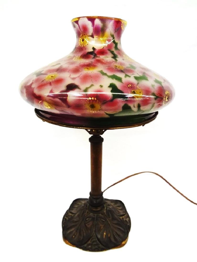 Bradley and Hubbard Signed Table Lamp with Glass Floral