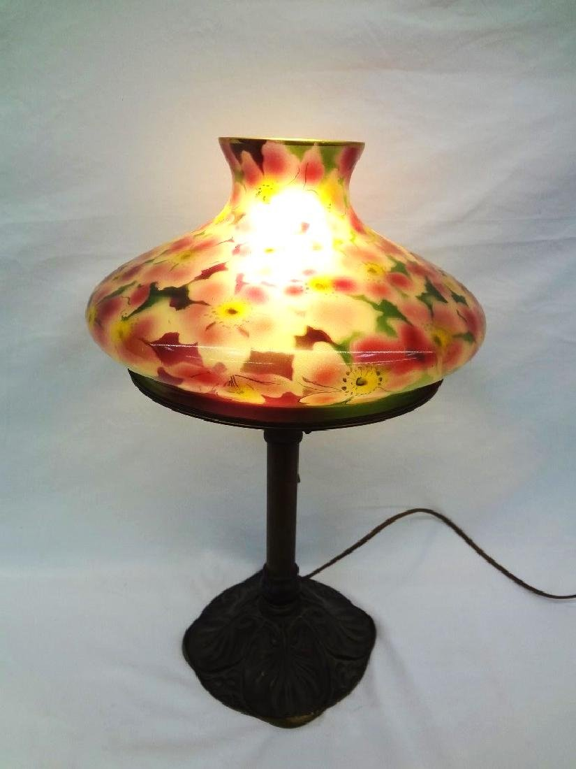 Bradley and Hubbard Signed Table Lamp with Glass Floral - 9