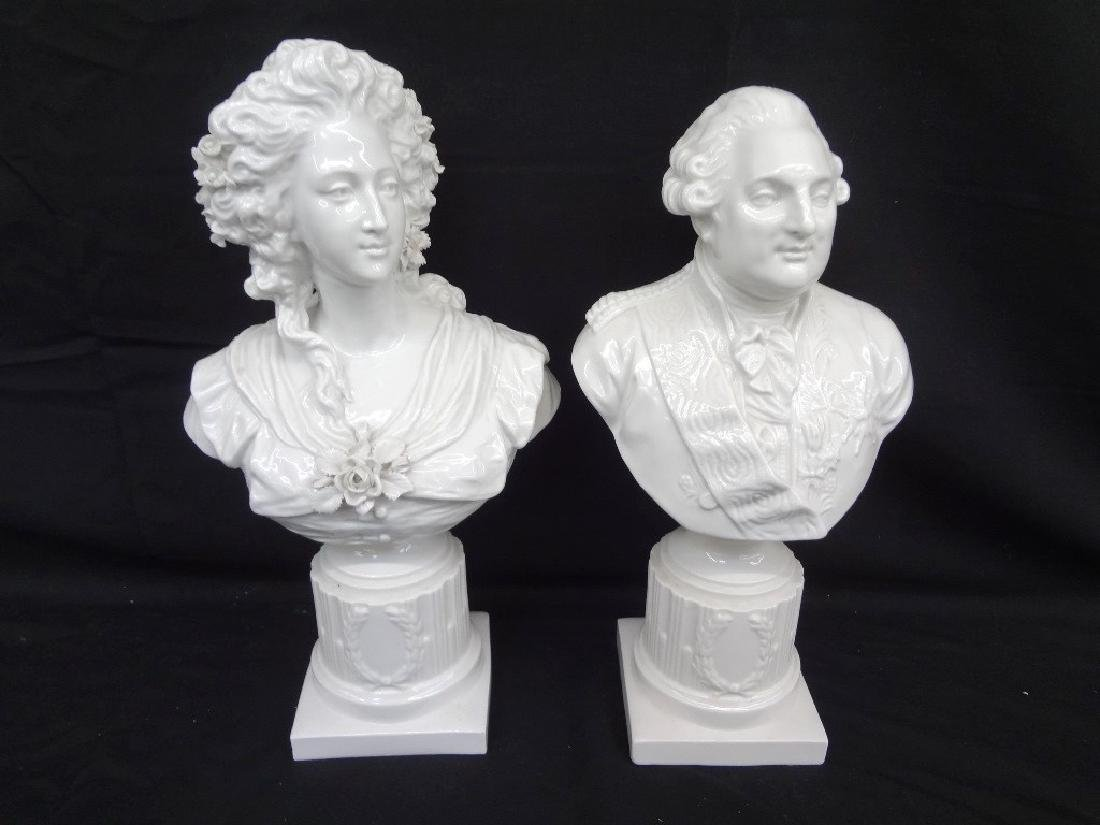 King Louis XVI and Marie Antoinette Porcelain Busts