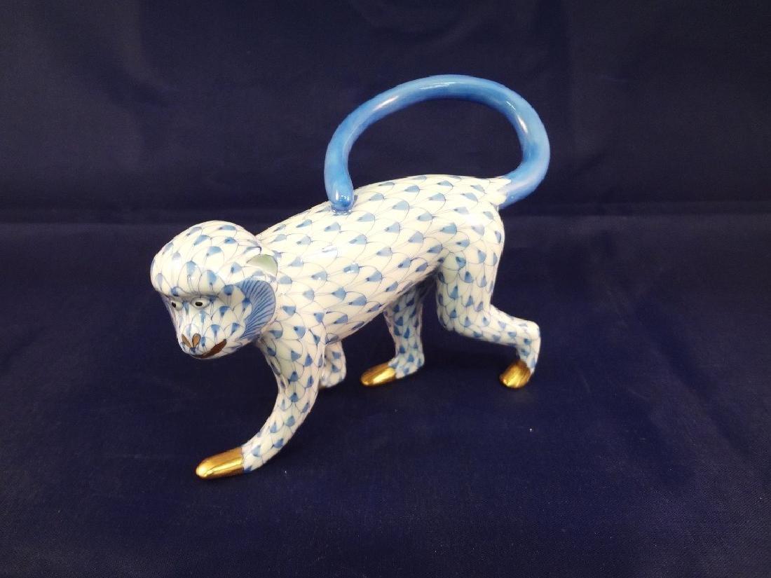 "Herend Porcelain Figurine ""Monkey Fishnet"""