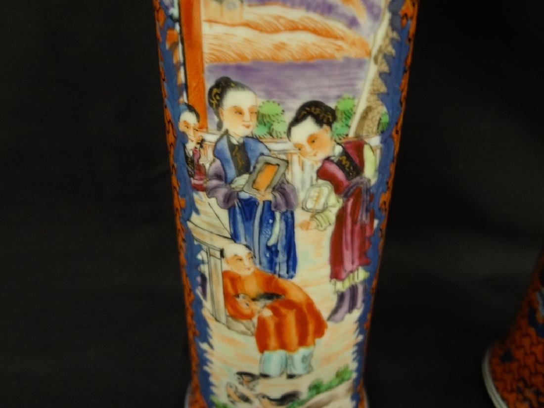 Pair of Chinese Porcelain Hand Painted Vases - 3