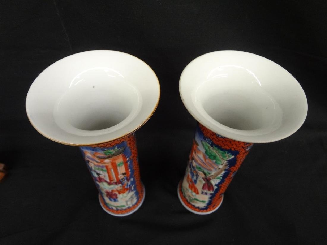 Pair of Chinese Porcelain Hand Painted Vases - 4