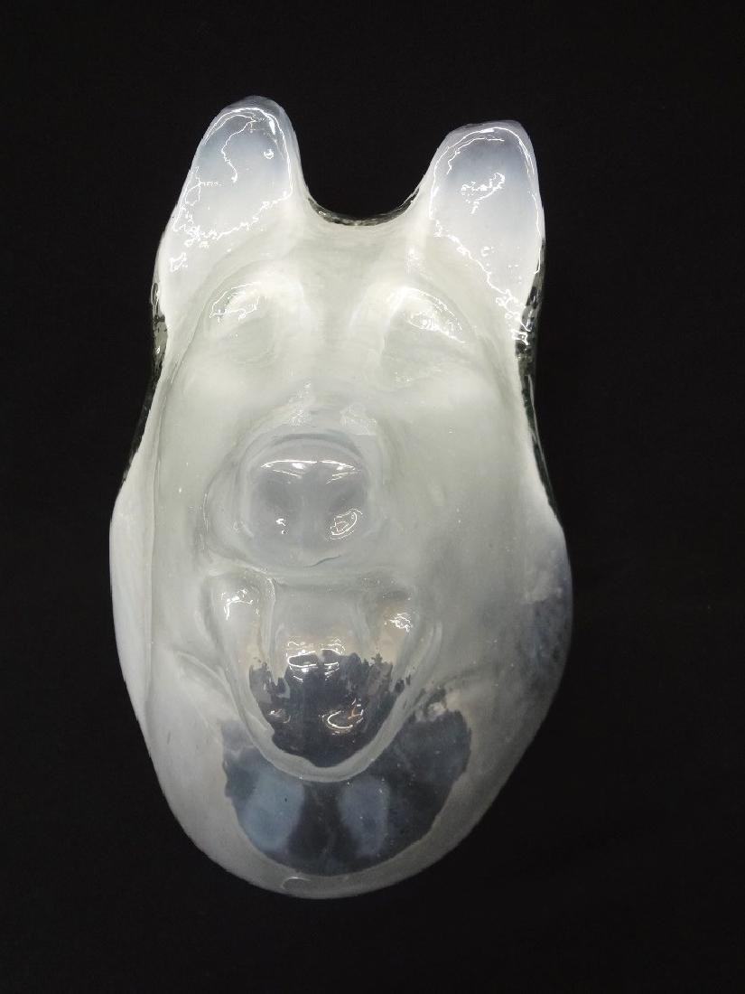 "Kevin Lockau (Canada) ""White Dog's Head"" Cast Glass"