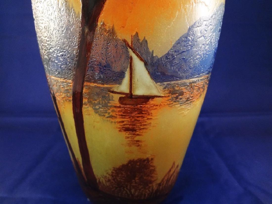French Legras Cameo Art Glass Vase - 2