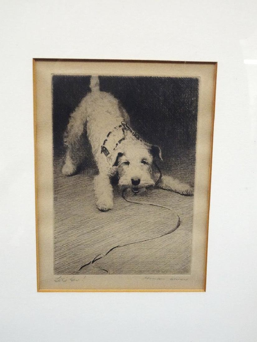 "Morgan Dennis Terrier Dog Etching ""Let's Go"""