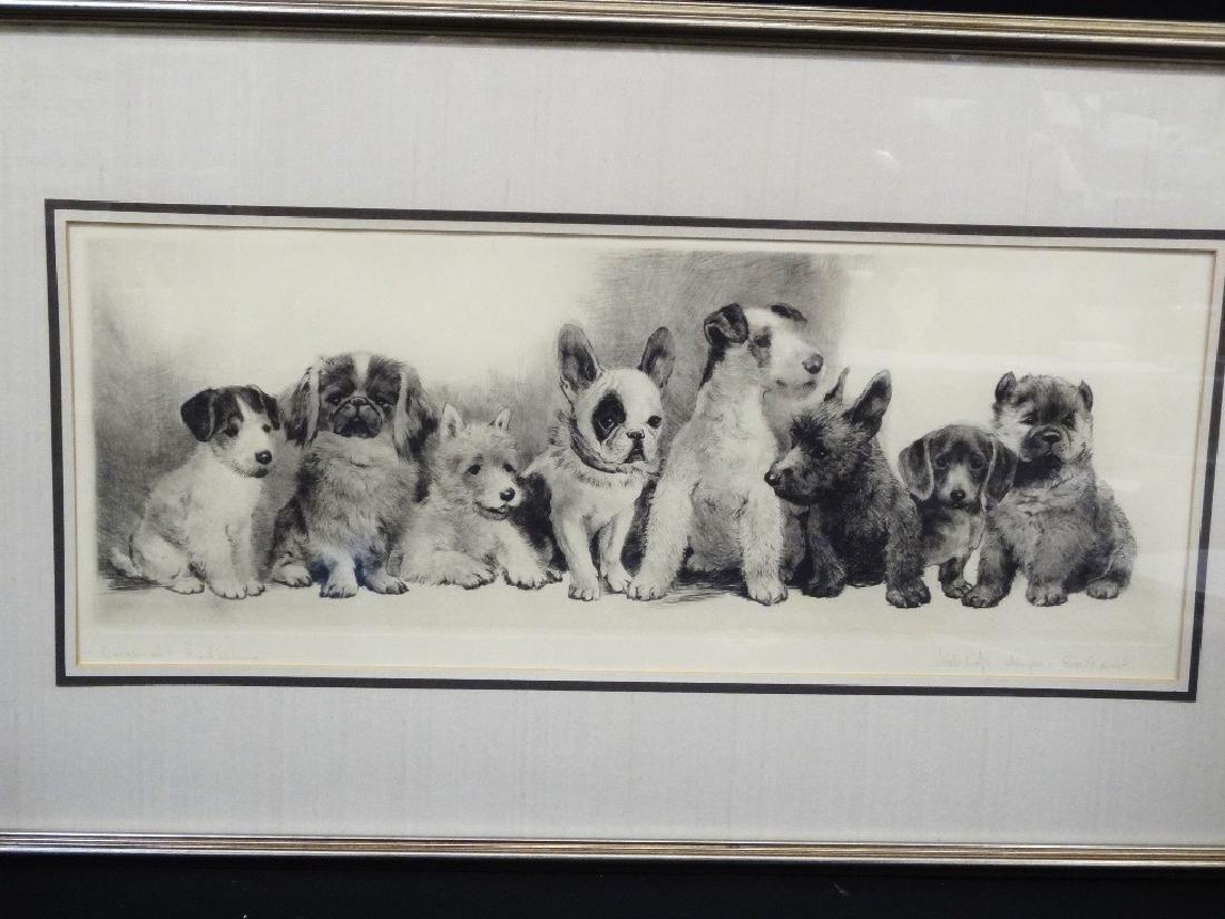 "Meyer Eberhardt Original Etching ""Radiening"" Dogs"