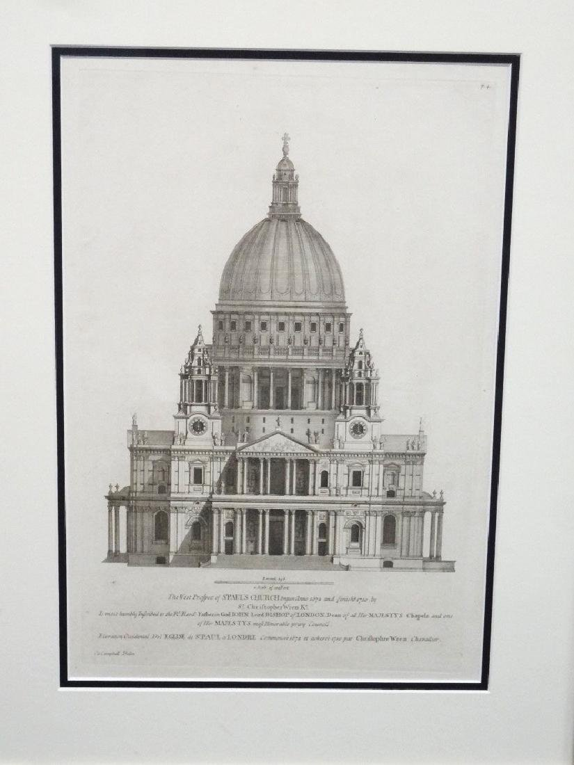 Henry Hulsbergh Engraving of Christopher Wren's St.