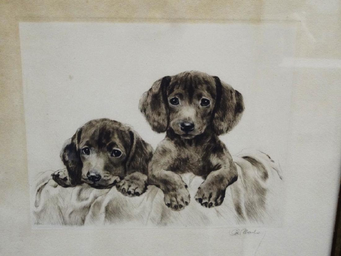 Original Etching Dogs Pencil Signed Unknown Artist