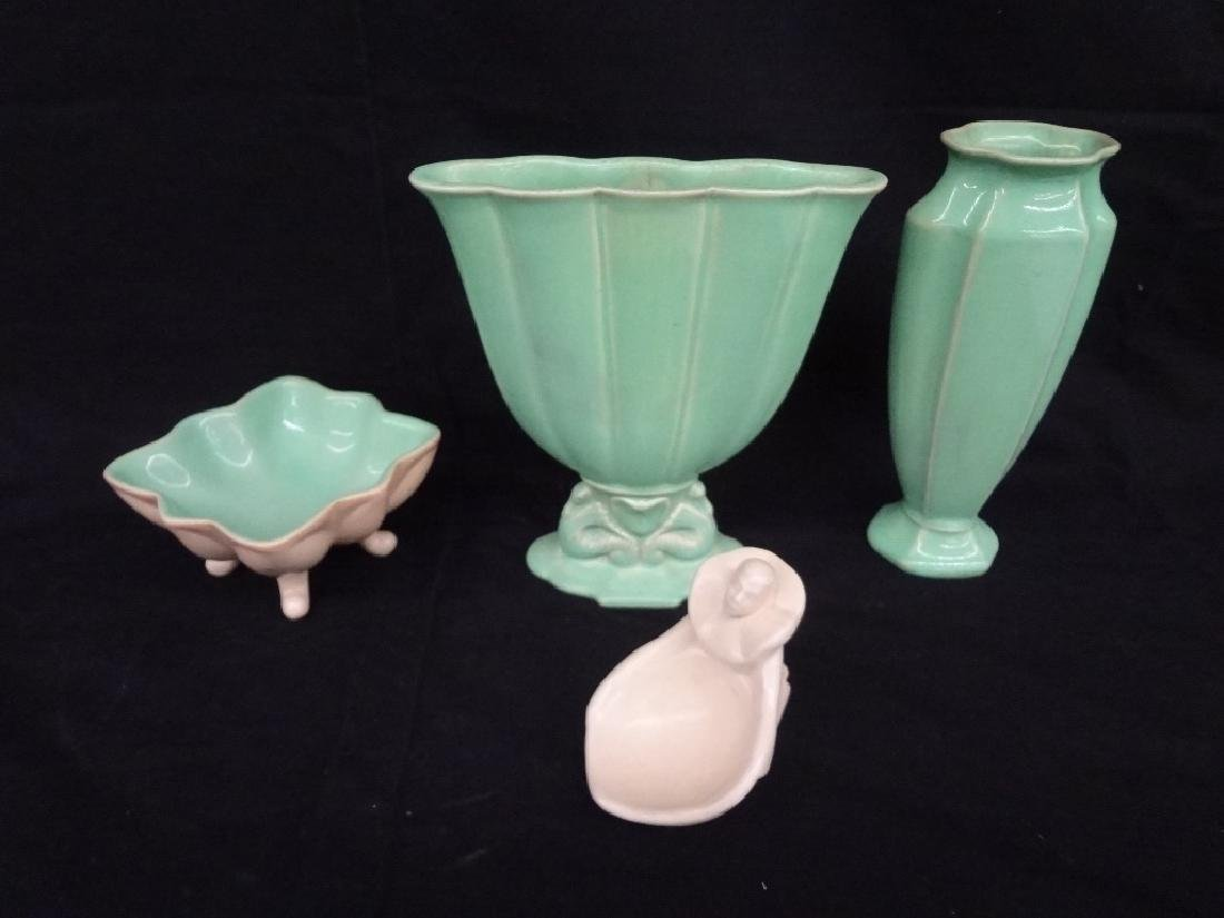 (4) Cowan Pottery Pieces: Sea Horse Fan Vase, Compote,
