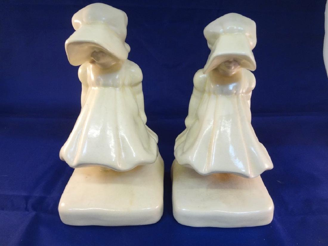 Cowan Pottery Sunbonnet Bookends in Cream