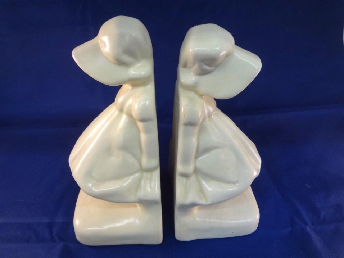 Cowan Pottery Sunbonnet Bookends in Cream - 2