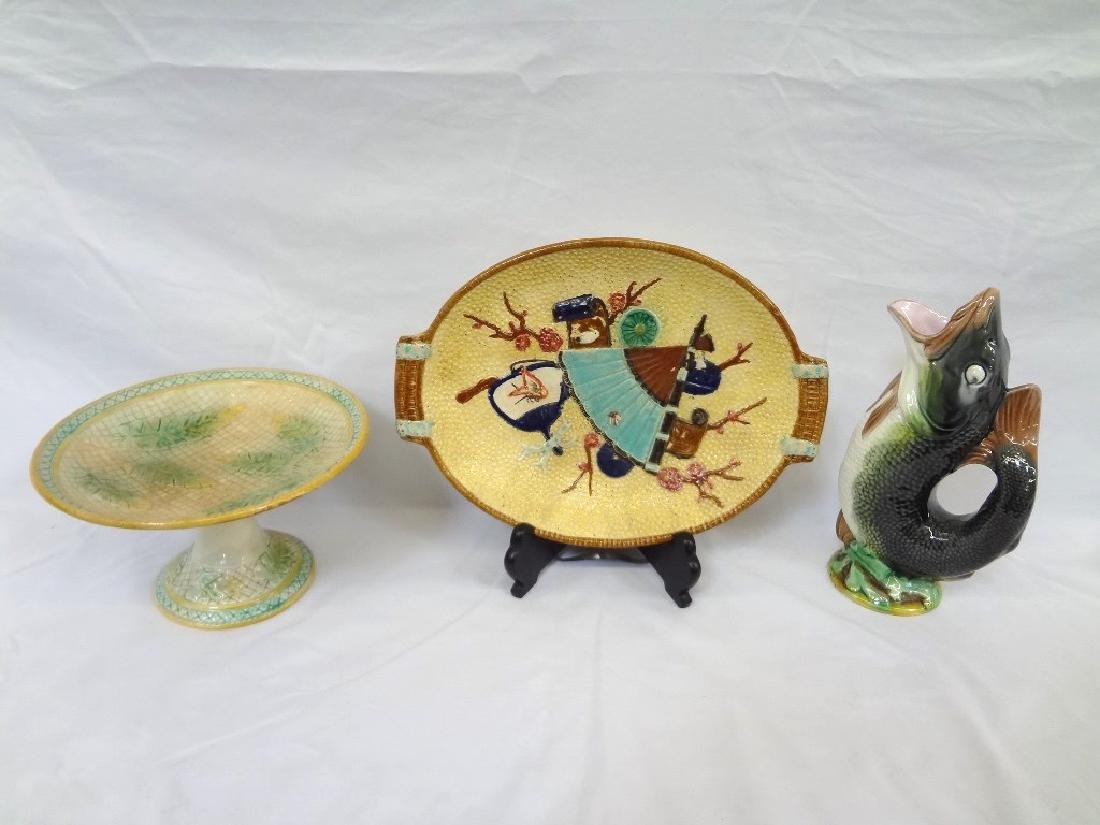 (3) Early Majolica: Platter, Fish Tankard, Footed Cake