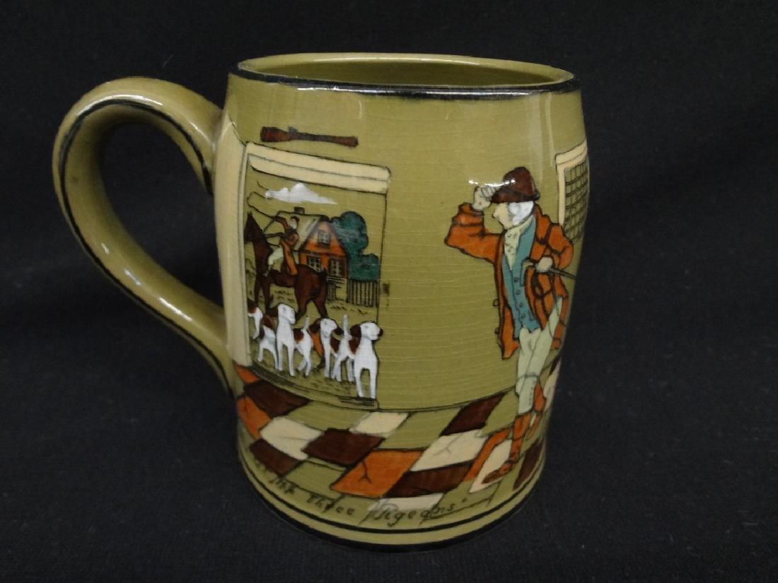 """Buffalo Pottery Deldare Ware Tankard """"At the Three"""