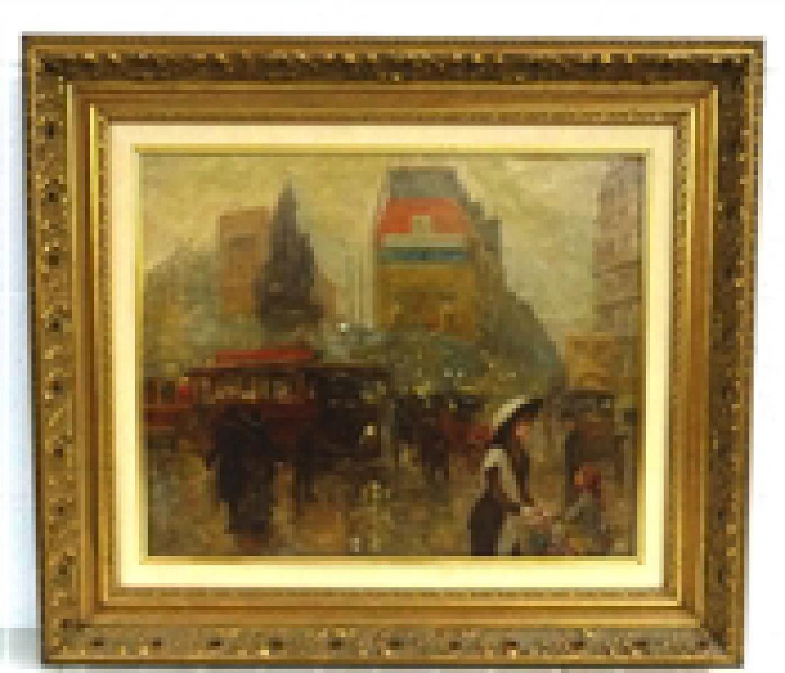 Carlos Perez Oil On Canvas Parisian Street Scene