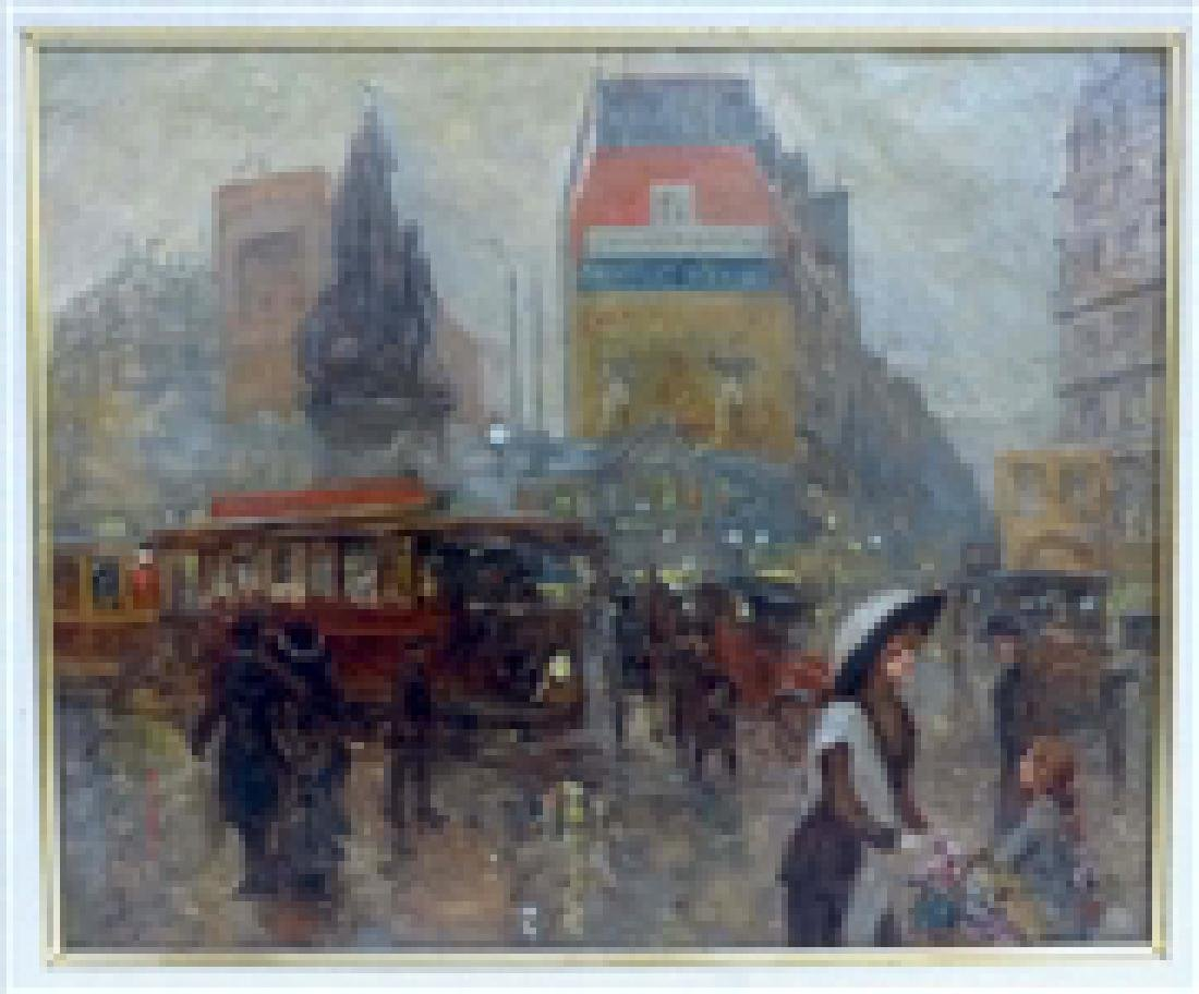 Carlos Perez Oil On Canvas Parisian Street Scene - 2