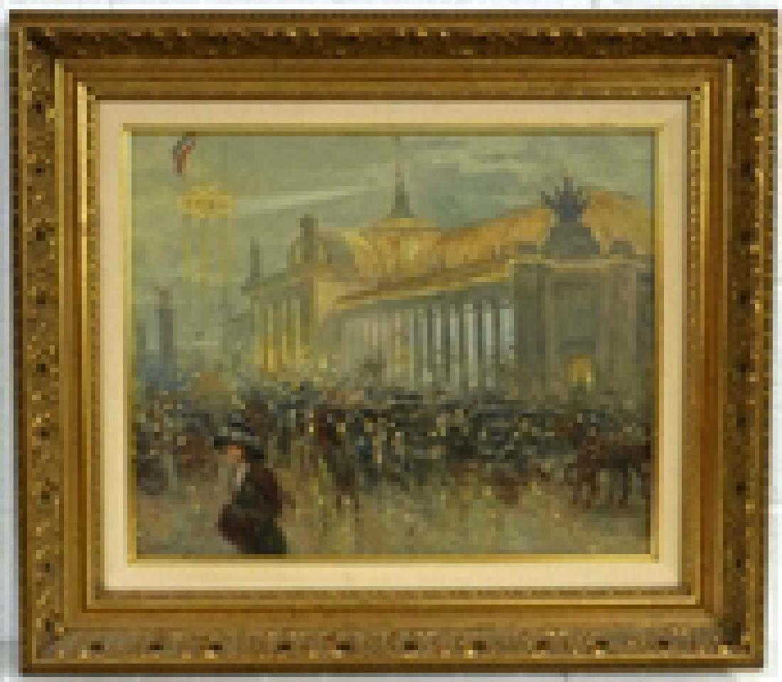 Carlos Perez (1853-1929) Oil On Canvas Parisian Street