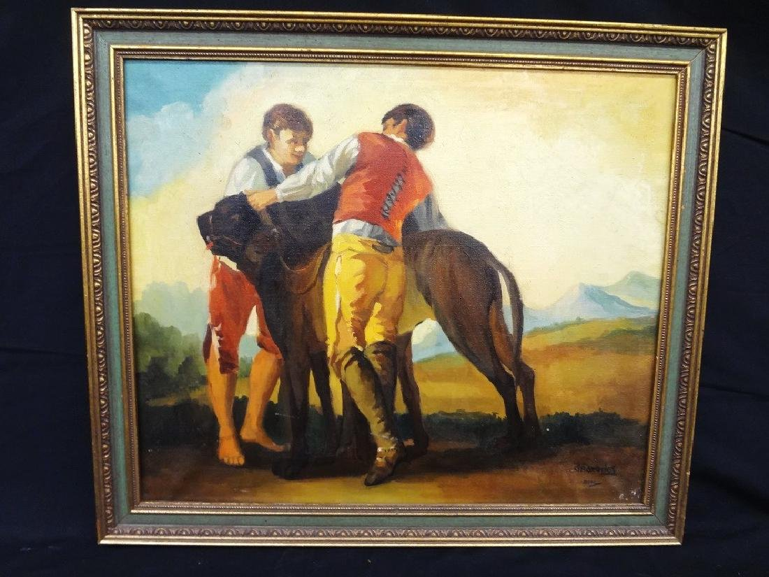 "Spanish Oil Painting Signed Granados ""Two Young Boys"