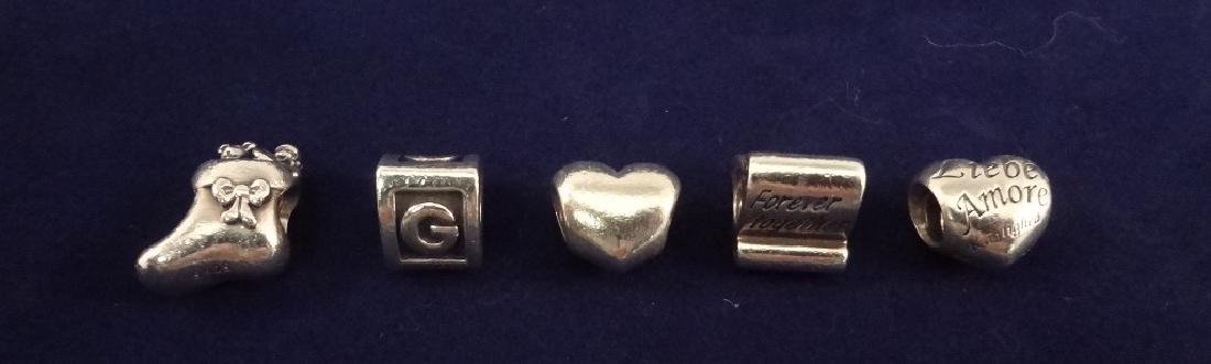 (5) Pandora Sterling Silver Charms: Forever, Stocking,