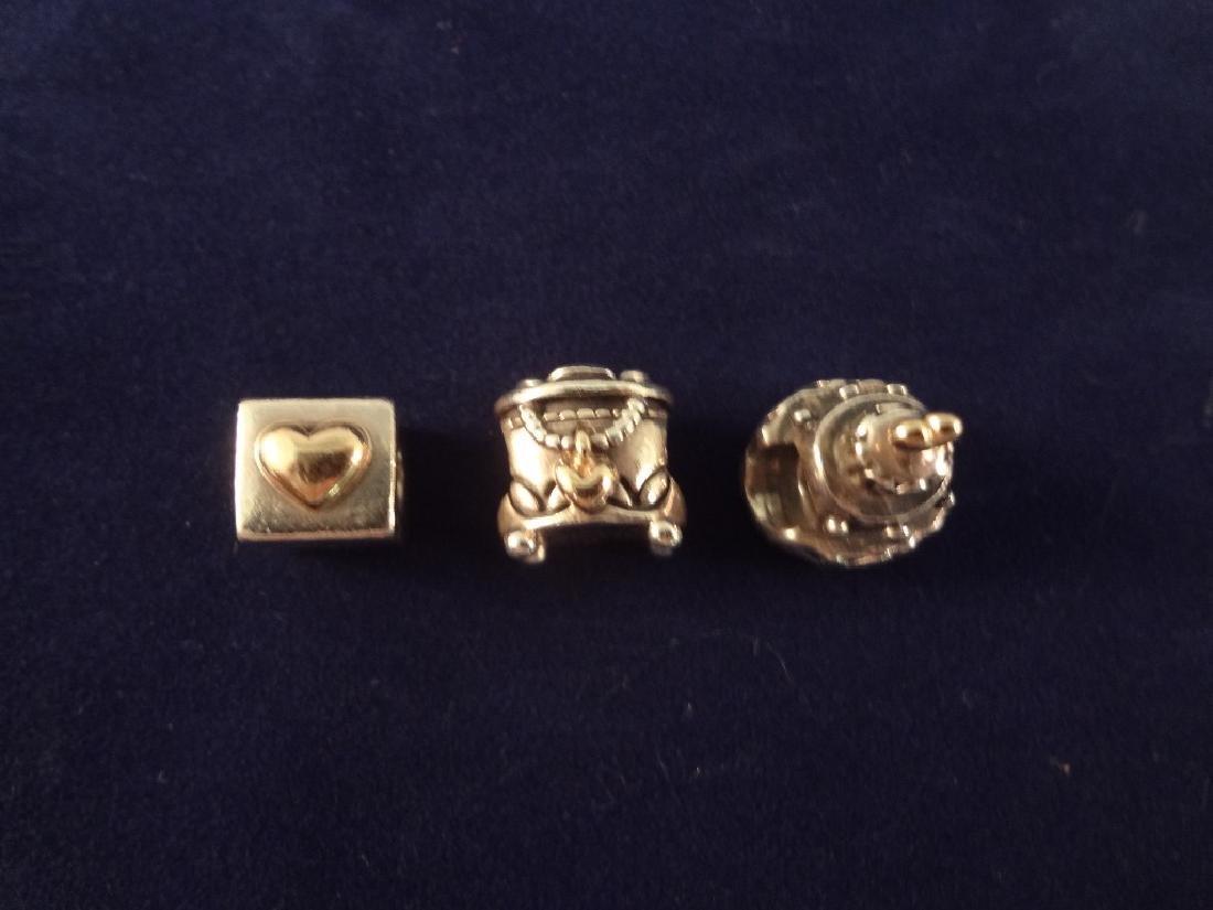(3) Pandora Sterling Silver and 14k Gold Bracelet